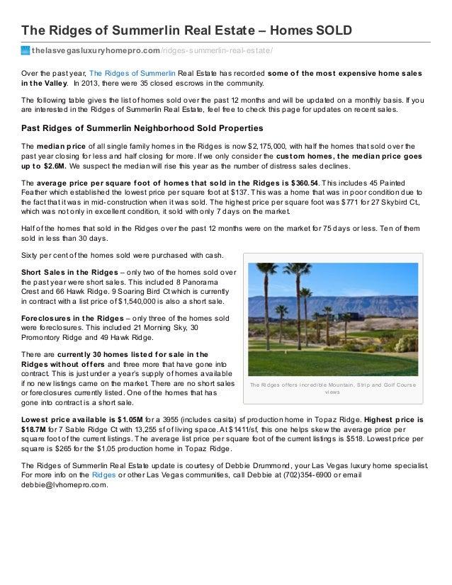 The Ridges of Summerlin Real Estate – Homes SOLD thelasvegasluxuryhomepro.com /ridges-summerlin-real-estate/ Over the past...