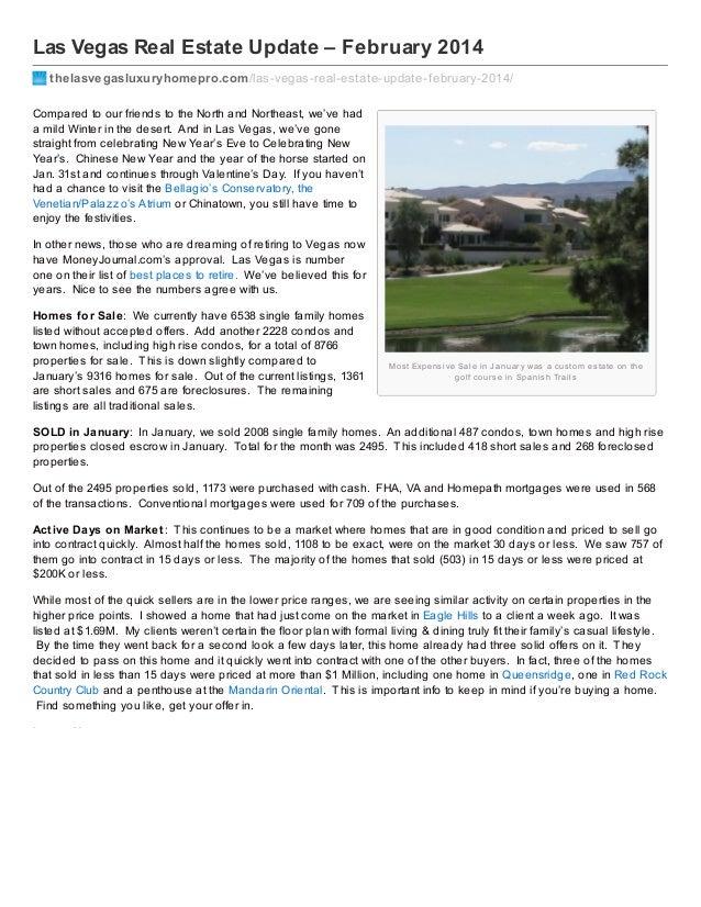 Las Vegas Real Estate Update – February 2014 thelasvegasluxuryhomepro.com /las-vegas-real-estate-update-f ebruary-2014/ Co...