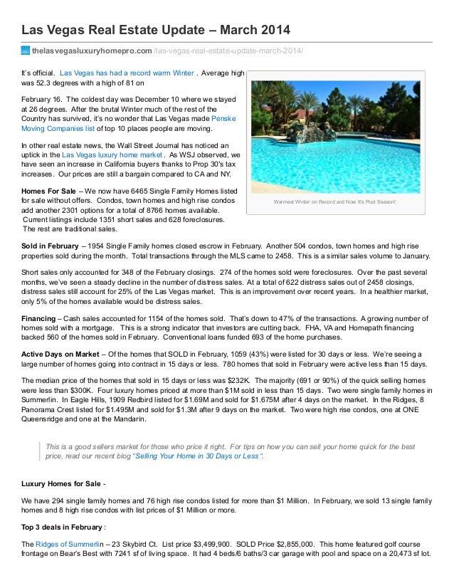 Las Vegas Real Estate Update – March 2014 thelasvegasluxuryhomepro.com /las-vegas-real-estate-update-march-2014/ It's offi...