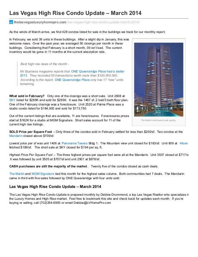Las Vegas High Rise Condo Update – March 2014 thelasvegasluxuryhomepro.com /las-vegas-high-rise-condo-update-march-2014/ A...