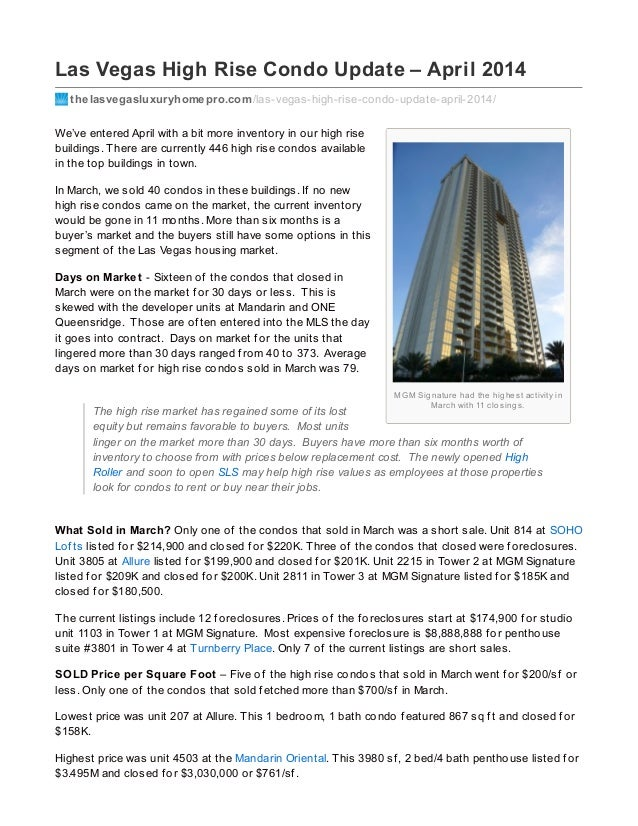 MGM Signature had the highest activity in March with 11 closings. Las Vegas High Rise Condo Update – April 2014 thelasvega...