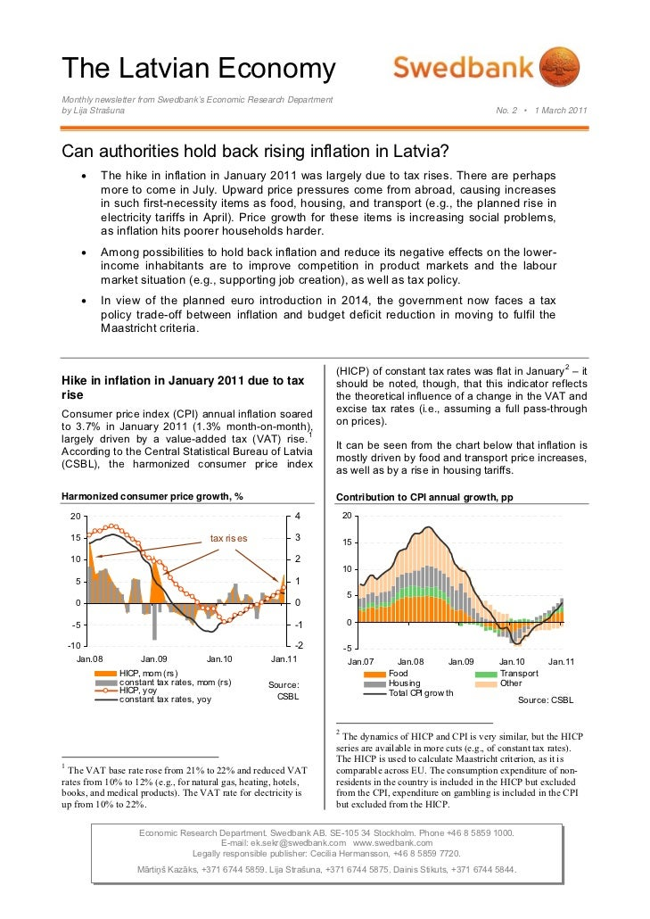 The Latvian EconomyMonthly newsletter from Swedbank's Economic Research Departmentby Lija Strašuna                        ...