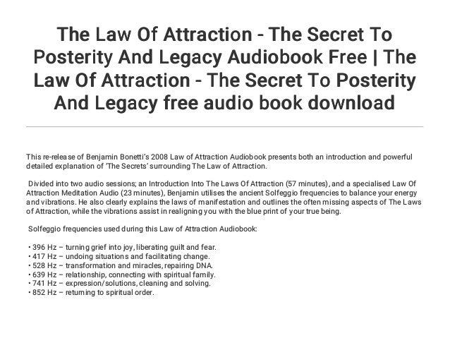 The Law Of Attraction - The Secret To Posterity And Legacy Audiobook …