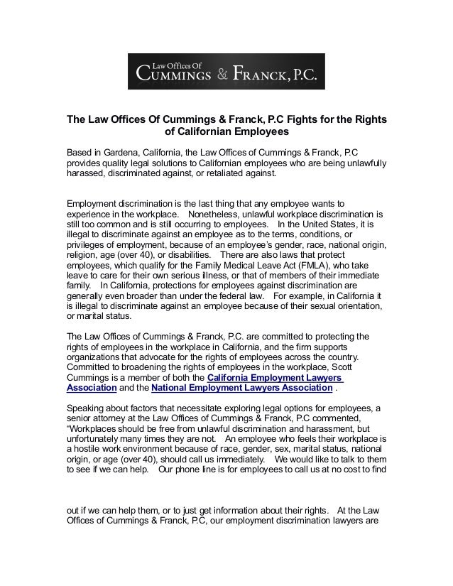 The Law Offices Of Cummings & Franck, P.C Fights for the Rights of Californian Employees Based in Gardena, California, the...