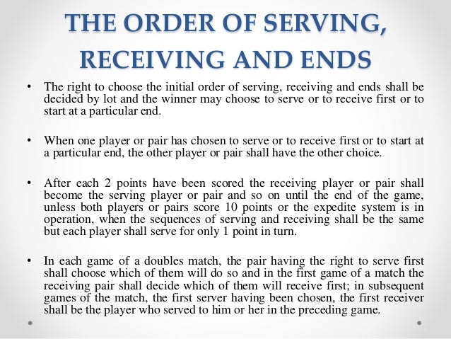 Table tennis scoring system for doubles for Table tennis serving rules