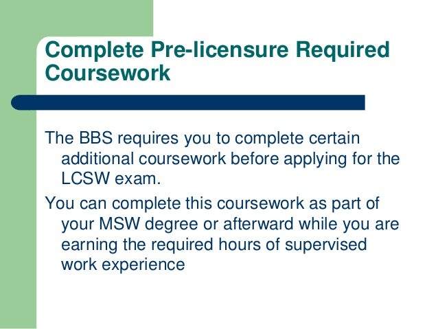 lcsw pre-license required coursework