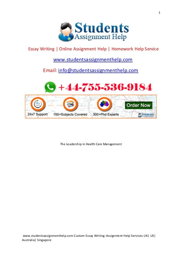 the leadership in health care management 1 studentsassignmenthelp com custom essay writing assignment help services uk