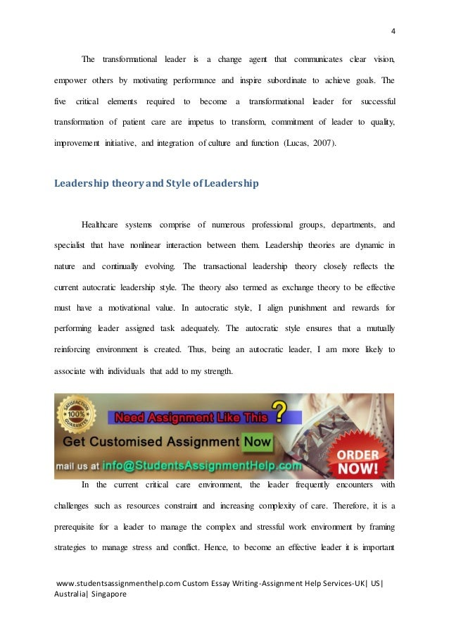 Transformational leader essay