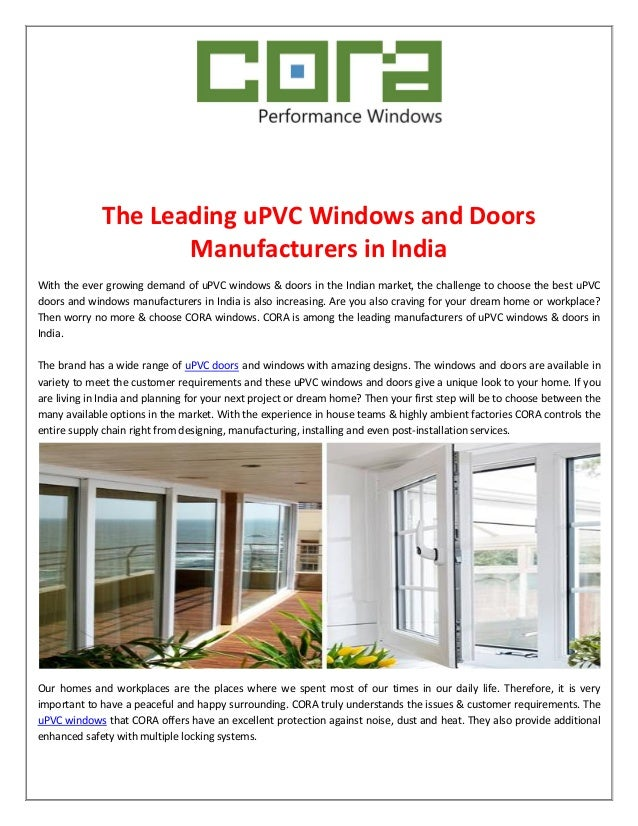 The Leading Upvc Windows And Doors Manufacturers In India
