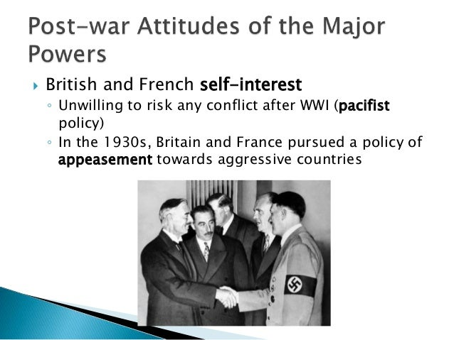 an examination of britains policy of appeasement towards germany in the 1930s The policy of appeasement followed by france and england towards nazi germany during the 1930s enabled adolf hitler to annex austria, assume control of czechoslovakia and to ultimately invade poland, the act that signaled the start of world war ii on september 1, 1939 initially weakened at the end .