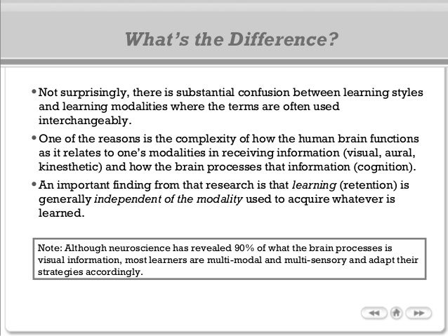 What's the Difference? •Not surprisingly, there is substantial confusion between learning styles and learning modalities w...
