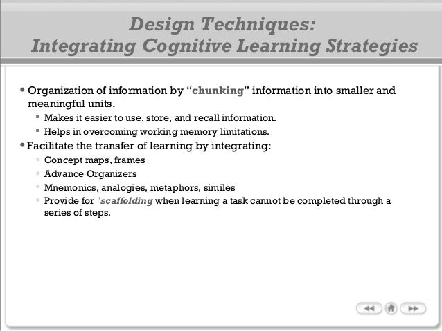 """• Organization of information by """"chunking"""" information into smaller and meaningful units.  Makes it easier to use, store..."""