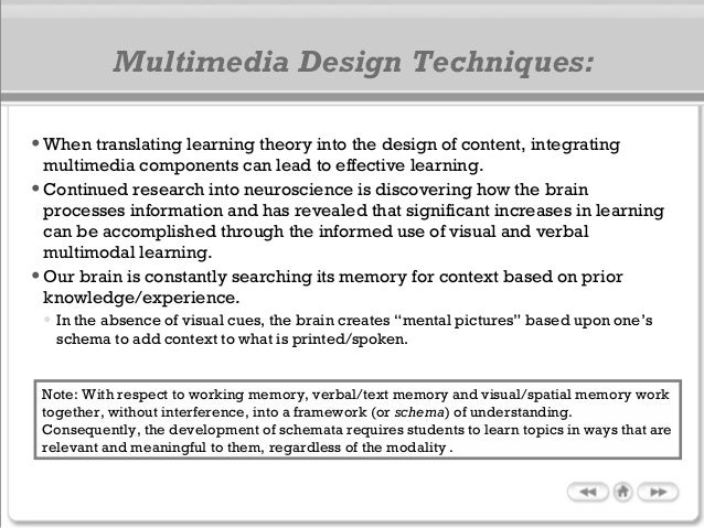 •When translating learning theory into the design of content, integrating multimedia components can lead to effective lear...