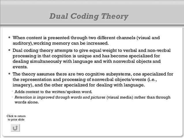 Dual Coding Theory • When content is presented through two different channels (visual and auditory),working memory can be ...