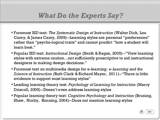 What Do the Experts Say? •Foremost ISD text: The Systematic Design of Instruction (Walter Dick, Lou Carey, & James Carey, ...