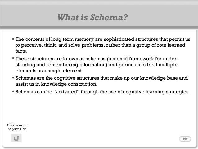 What is Schema? •The contents of long term memory are sophisticated structures that permit us to perceive, think, and solv...