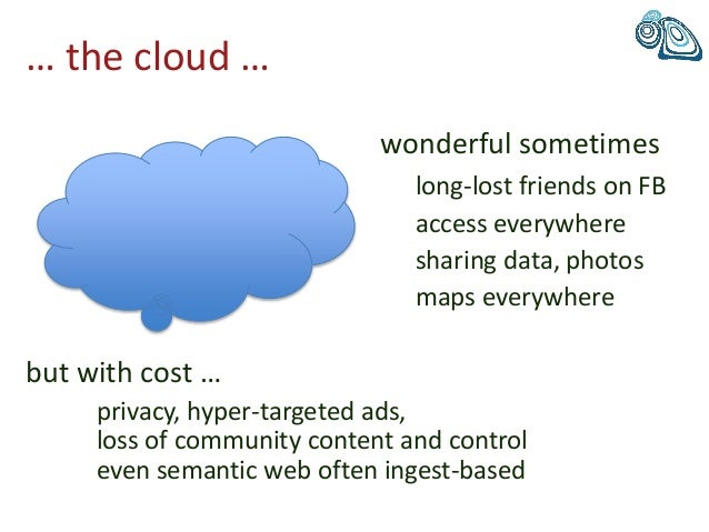 … the cloud … wonderful sometimes long-lost friends on FB access everywhere sharing data, photos maps everywhere but with ...