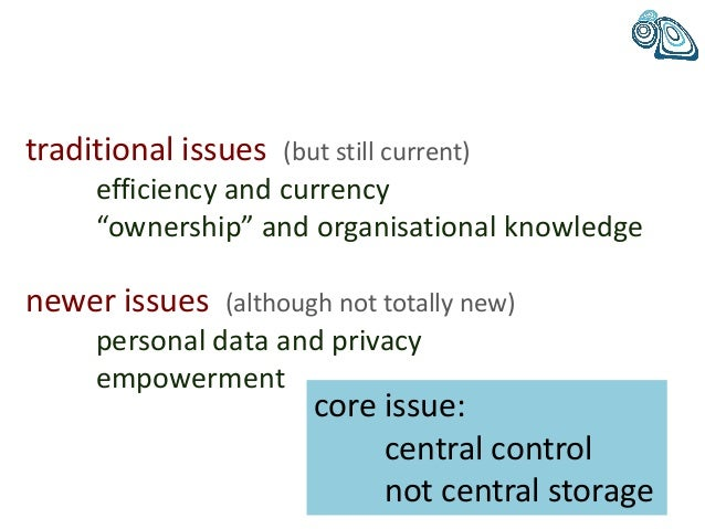 """traditional issues (but still current) efficiency and currency """"ownership"""" and organisational knowledge newer issues (alth..."""