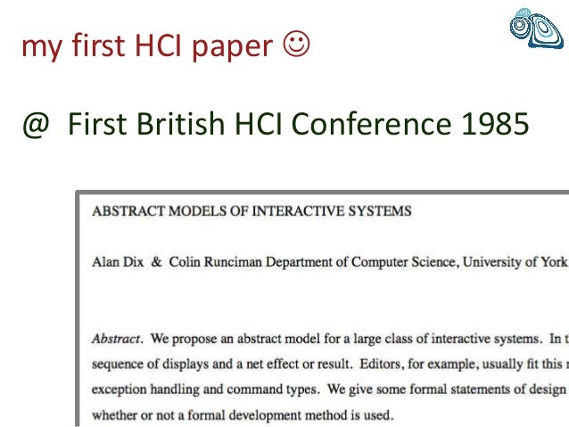my first HCI paper  @ First British HCI Conference 1985
