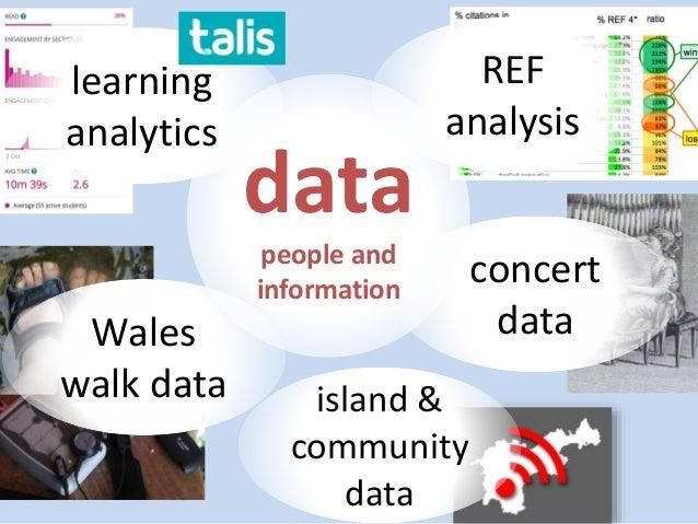 REF analysis concert data island & community data Wales walk data data people and information learning analytics