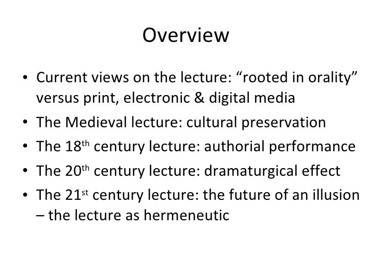 The lecture as a trans medial pedagogical form Slide 3