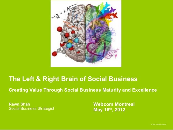 The Left & Right Brain of Social BusinessCreating Value Through Social Business Maturity and ExcellenceRawn Shah          ...