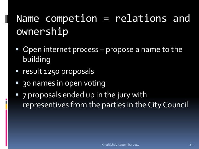 Name competion = relations and ownership  Open internet process – propose a name to the building  result 1250 proposals ...