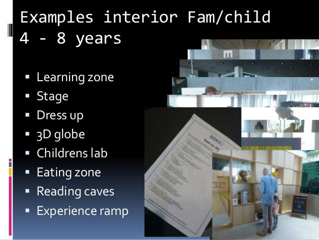 Examples interior Fam/child 4 - 8 years  Learning zone  Stage  Dress up  3D globe  Childrens lab  Eating zone  Read...