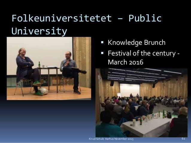 Folkeuniversitetet – Public University  Knowledge Brunch  Festival of the century - March 2016 Knud Schulz Aarhus Novemb...
