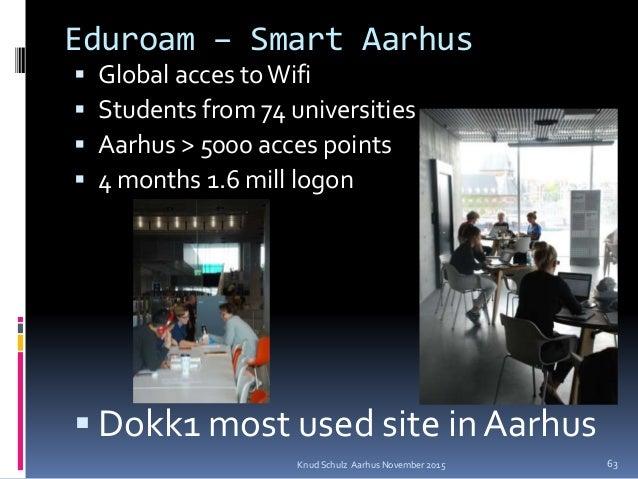 Eduroam – Smart Aarhus  Global acces toWifi  Students from 74 universities  Aarhus > 5000 acces points  4 months 1.6 m...
