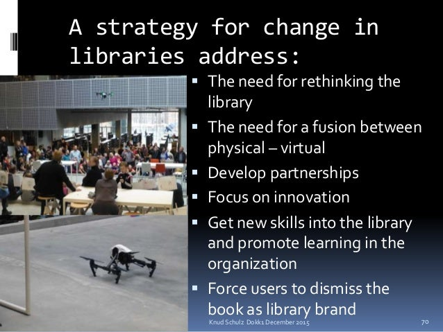 Knud Schulz Dokk1 December 2015 A strategy for change in libraries address:  The need for rethinking the library  The ne...