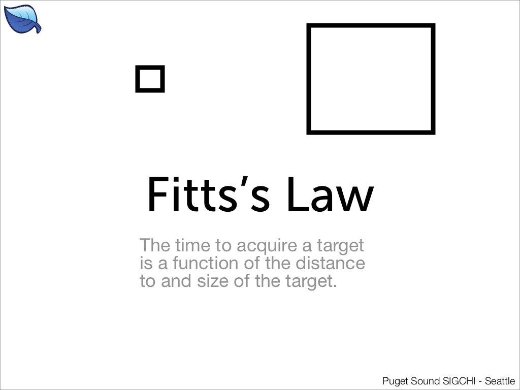 fitts law Oo oo - just when i thought i was settling down to do some of the work i'm actually paid to do, i discovered a bit of psychology that is relevant to interaction design:- did you know that the time it takes you to point your mouse, or your finger, at something is predictable from.