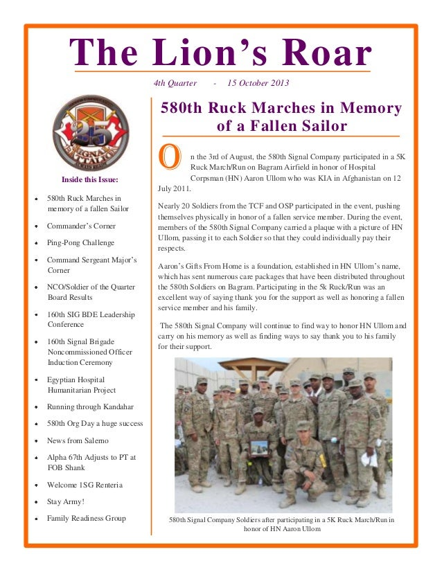The Lion's Roar 4th Quarter  -  15 October 2013  580th Ruck Marches in Memory of a Fallen Sailor  Inside this Issue: 580th...
