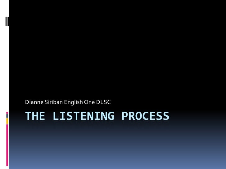 The Listening Process<br />Dianne Siriban English One DLSC<br />