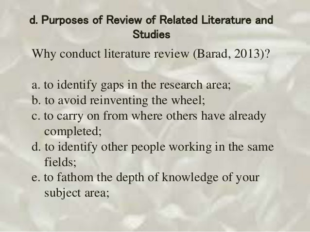review of related literature and studies Writing thesis lectures about related literature and related studies types and examples are given a survey or review of related literature and studies is very important because such reviewed literature and studies serve as a foundation of the proposed study.