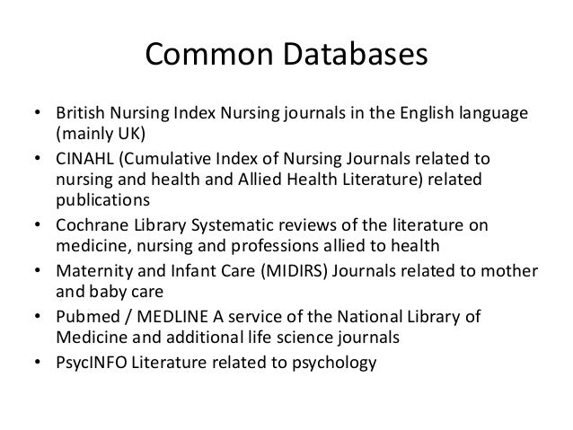 review of literature in a nursing research proposal Undertaking a literature review: a step by step approach abstract nowadays for the individual undertaking a non-research based literature review this will be the first step cochrane library systematic reviews of the literature on medicine, nursing and professions allied to health.