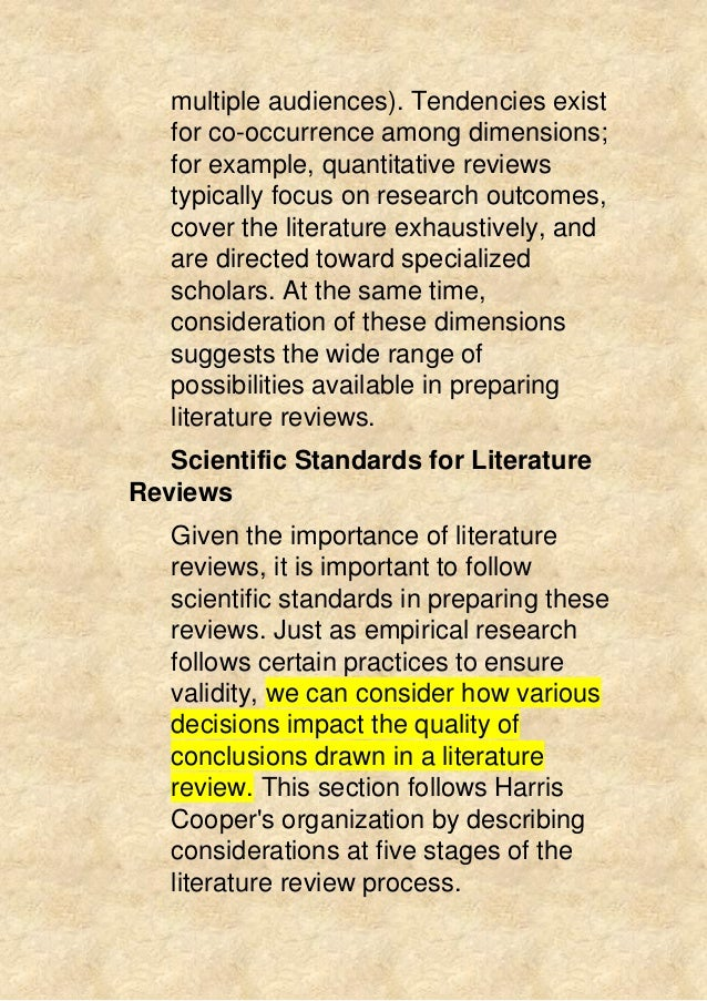 What is typically included in a literature review?