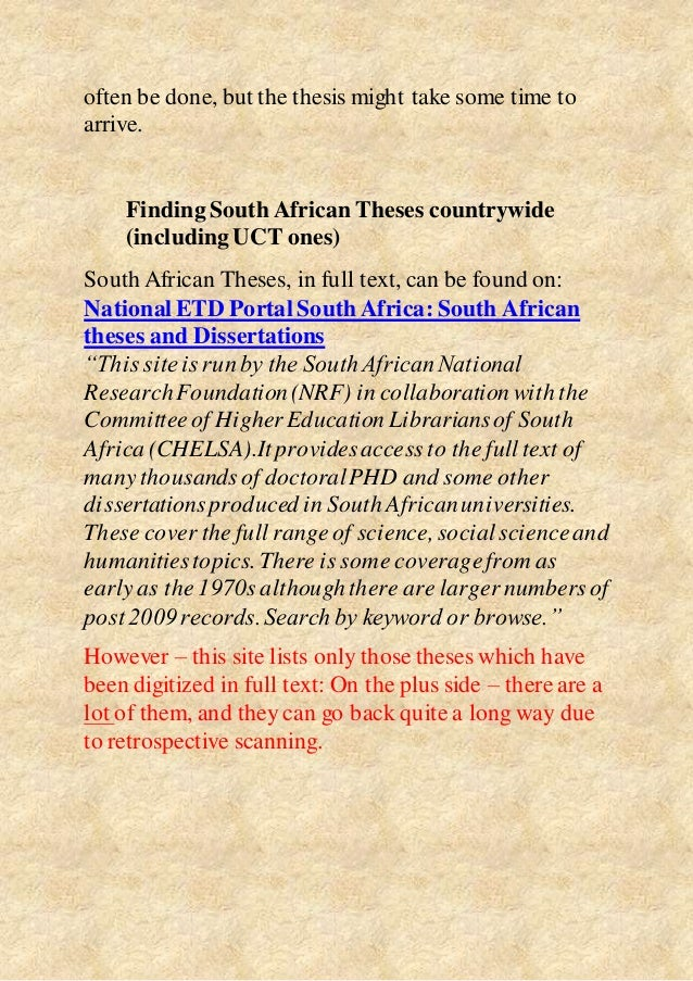 south african theses and dissertations can be searched for on