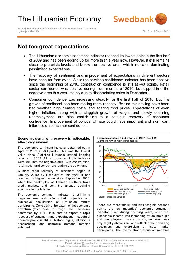 The Lithuanian EconomyMonthly newsletter from Swedbank's Economic Research Departmentby Nerijus Mačiulis                  ...