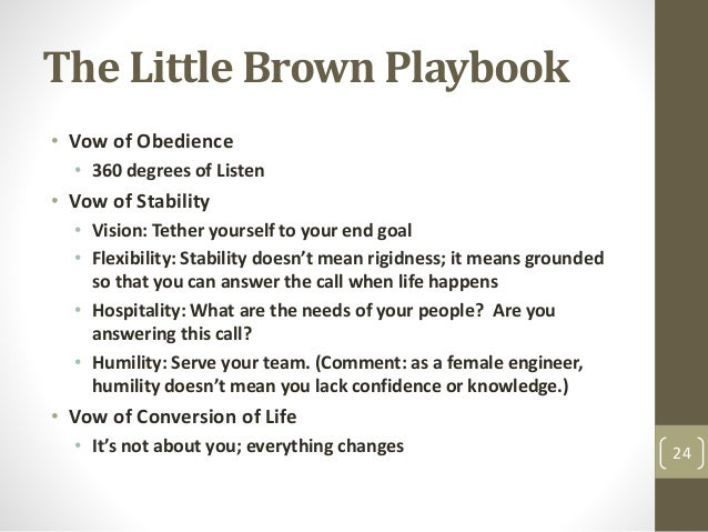 The Little Brown Playbook • Vow of Obedience • 360 degrees of Listen • Vow of Stability • Vision: Tether yourself to your ...