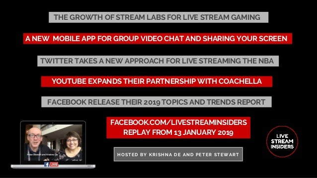 THE GROWTH OF STREAM LABS FOR LIVE STREAM GAMING FACEBOOK.COM/LIVESTREAMINSIDERS REPLAY FROM 13 JANUARY 2019 HOSTED BY KRI...