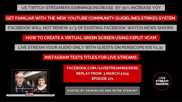US TWITCH STREAMERS EARNINGS INCREASE� BY 30% INCREASE YOY FACEBOOK.COM/LIVESTREAMINSIDERS REPLAY FROM� 3 MARCH 2019 EPISO...