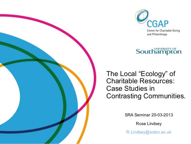 "The Local ""Ecology"" ofCharitable Resources:Case Studies inContrasting Communities.SRA Seminar 20-03-2013Rose LindseyR.Lind..."