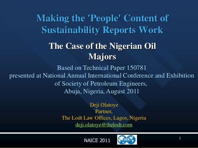 Making the People Content of          Sustainability Reports Work              The Case of the Nigerian Oil               ...