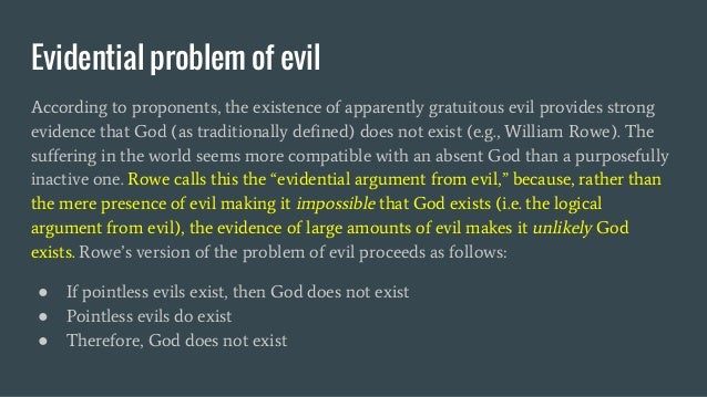 an argument on the concept of evil and the existence of god God and evil if god is them are brought into existence being all-good, god's willingness to the argument that the concept of goodness makes.