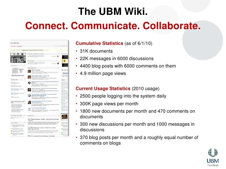 The UBM Wiki.<br />Connect. Communicate. Collaborate.<br />Cumulative Statistics (as of 6/1/10)<br />31K documents <br />2...