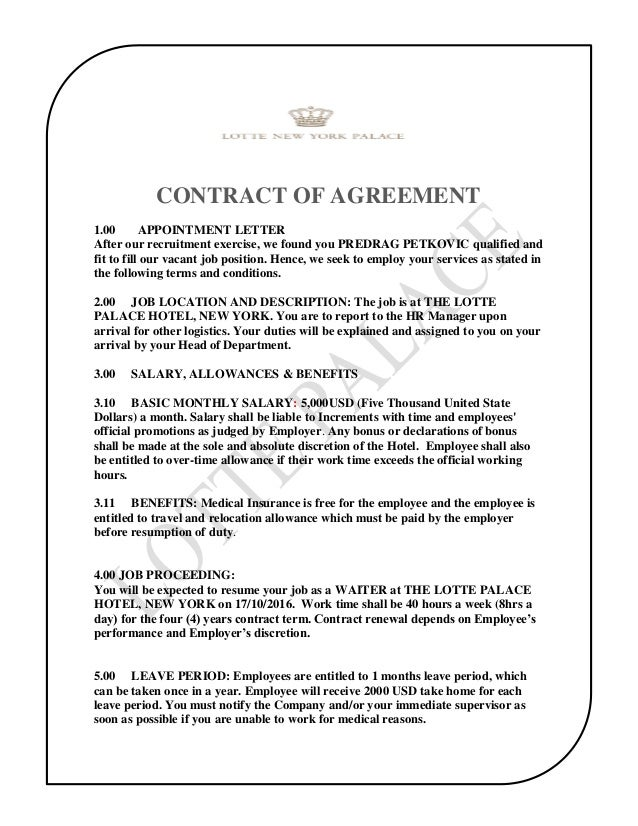The Lotte Palace Hotel Contract Of Agreement Predrag Petkovic