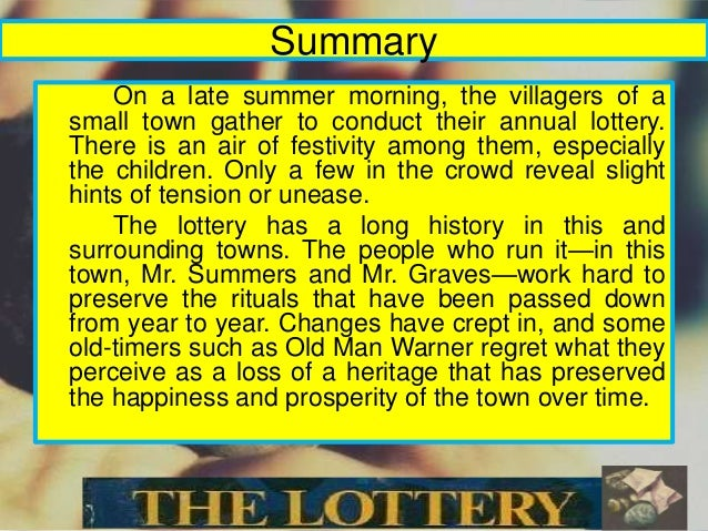 thesis statement for the story the lottery by shirley jackson This essay analyses the lottery by shirley jackson in the lottery it becomes  builds so carefully in his stories jackson colors  thesis , dissertation .