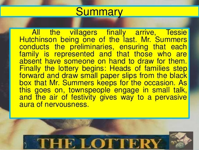 an analysis and interpretation of the lottery by shirley jackson 'the lottery' by shirley a literary analysis of the lottery by shirley jackson jackson, a twisted tale of village culture, has been thrilling audiences for three generations.