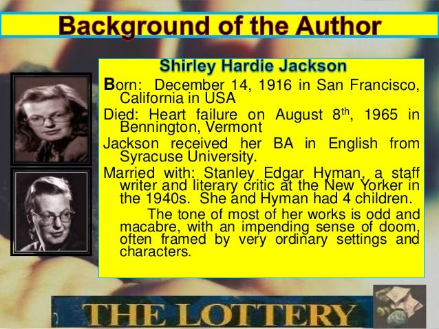 literary analysis lottery shirley jackson Literary elements and the lottery  what your instructor is looking for is analysis,  literary elements in the lottery by shirley jackson posting id:.